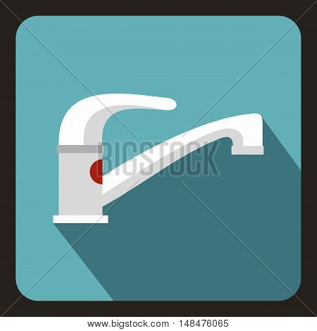 Tap water icon in flat style on a baby blue background vector illustration