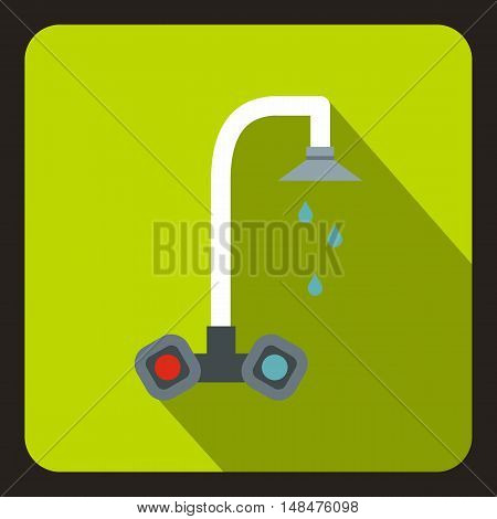 Dripping tap icon in flat style on a lime background vector illustration