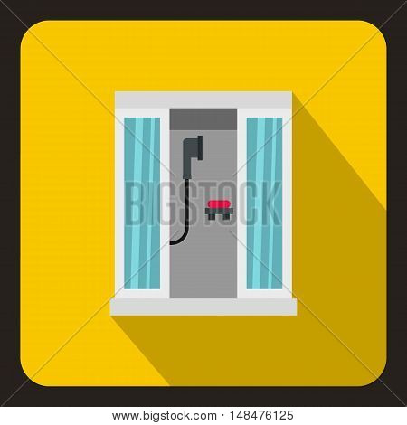 Shower cabin icon in flat style on a yellow background vector illustration