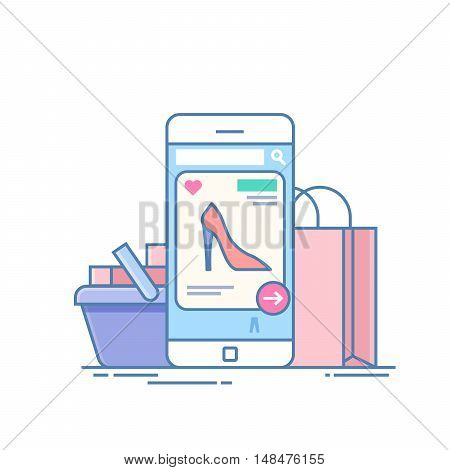 Online store. Concept of purchase on the Internet through the application on the phone. Mobile device on the background of the package and the shopping cart. Illustration isolated on white background