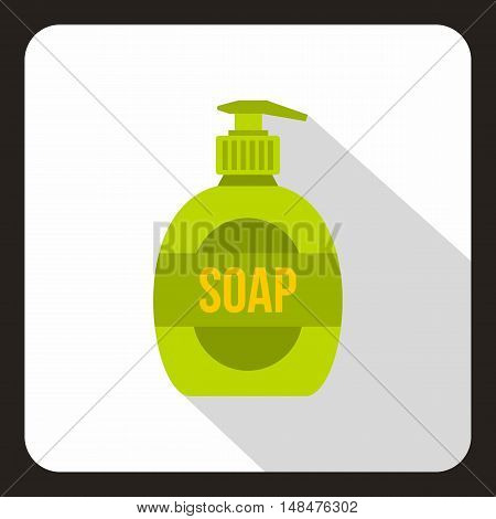 Green soap bottle icon in flat style on a white background vector illustration