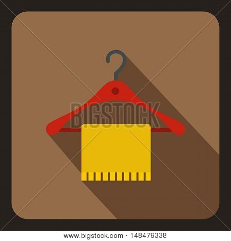 Blue scarf on coat hanger icon in flat style on a coffee background vector illustration