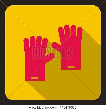 Red rubber gloves icon in flat style on a yellow background vector illustration
