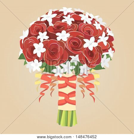Wedding bouquet of red roses. Vector bride bouquet.