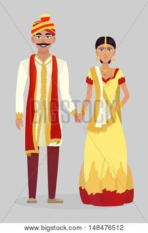 Cartoon Indian wedding couple. Vector illustration wedding.