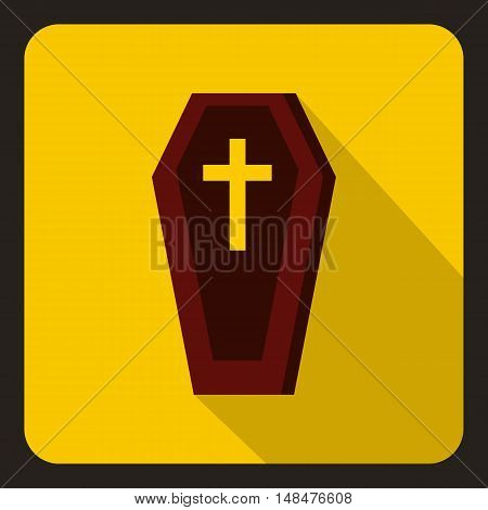 Brown coffin icon in flat style on a yellow background vector illustration