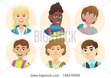 Avatars schoolboys with backpacks. Illustration of a cartoon character. Vector flat design.