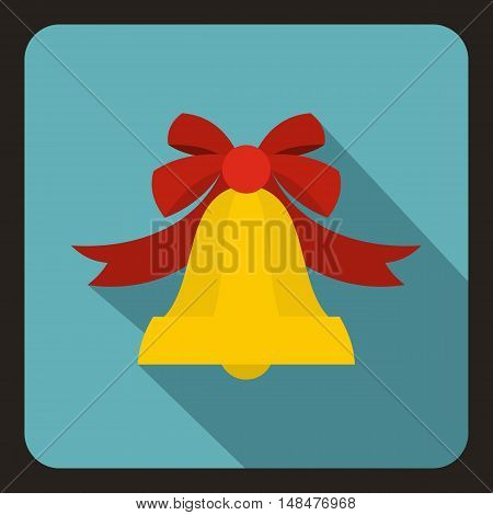 Bell with red bow icon in flat style with long shadow. Ring symbol vector illustration