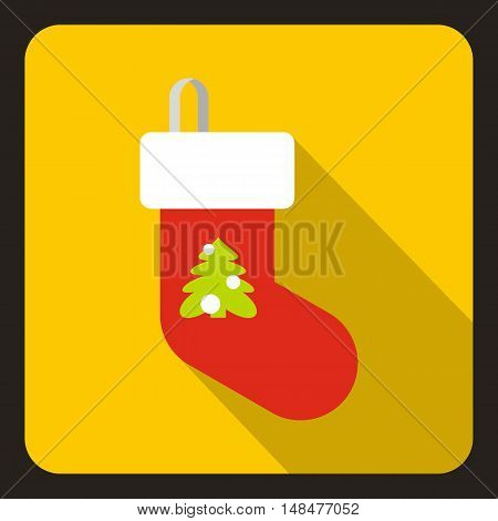 Christmas sock icon in flat style with long shadow. New year symbol vector illustration