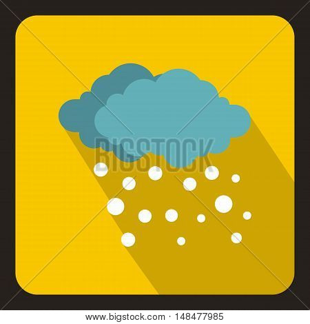 Blue clouds and white snow icon in flat style with long shadow. Weather symbol vector illustration