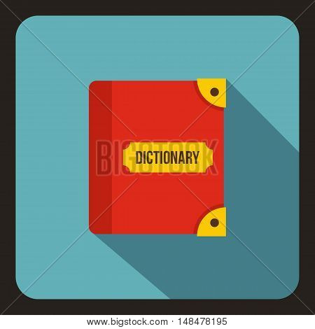 Book dictionary icon in flat style with long shadow. Training symbol vector illustration