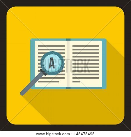 Magnifier and book icon in flat style with long shadow. Reading symbol vector illustration