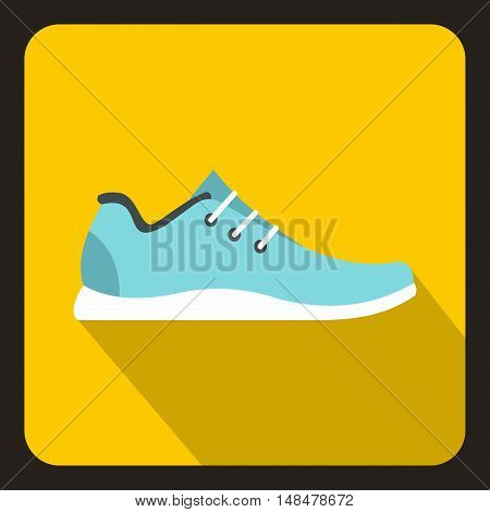 Sport sneakers icon in flat style with long shadow. Shoes symbol vector illustration