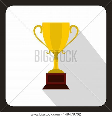 Gold Cup icon in flat style with long shadow. Award symbol vector illustration
