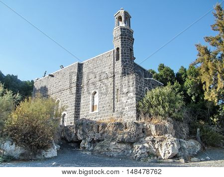 Church of the Primacy of Peter in Tabgha on the Sea of Galilee Israel