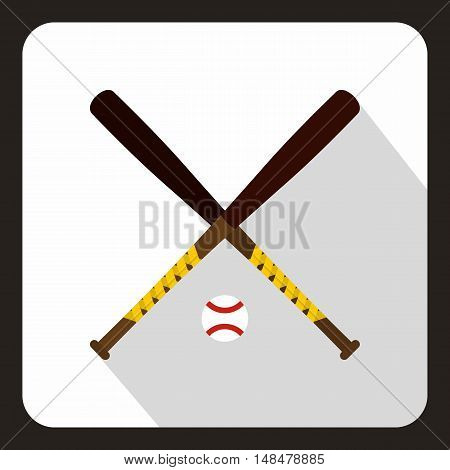 Baseball bat and ball icon in flat style with long shadow. Sport symbol vector illustration