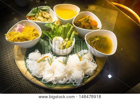 Vermicelli With Five Kinds Of Curry , Thai Cuisine