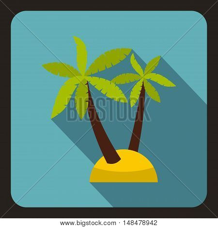 Palm tree icon in flat style with long shadow. Flora symbol vector illustration