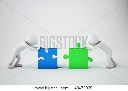 White businesspeople build a company with puzzle. Concept of parthership and teamwork. 3D rendering.