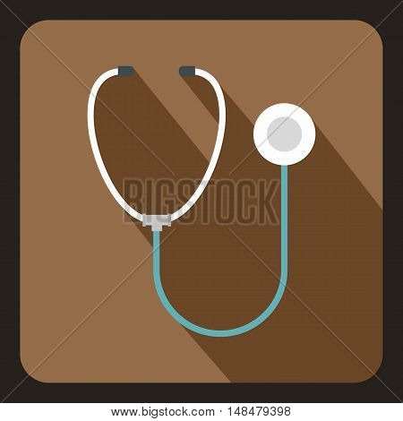 Medical stethoscope icon in flat style with long shadow. Medicine symbol vector illustration