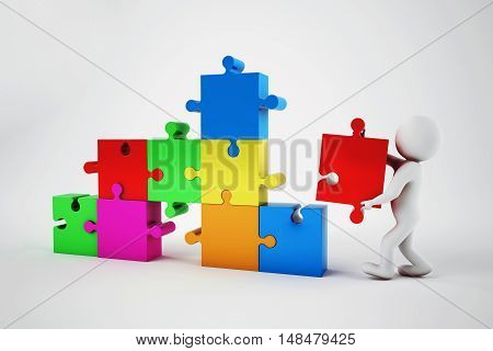 White man build a company with puzzle. Concept of parthership and teamwork. 3D rendering.