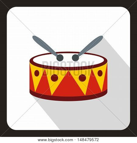 Drum with sticks icon in flat style with long shadow. Musical instrument symbol vector illustration
