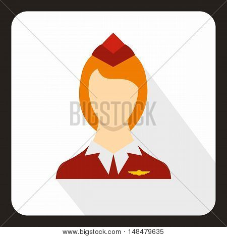 Stewardess icon in flat style with long shadow. Work symbol vector illustration