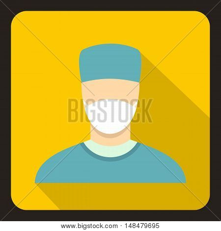 Surgeon icon in flat style with long shadow. Job symbol vector illustration