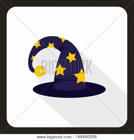 Wizard hat icon in flat style with long shadow. Tricks symbol vector illustration