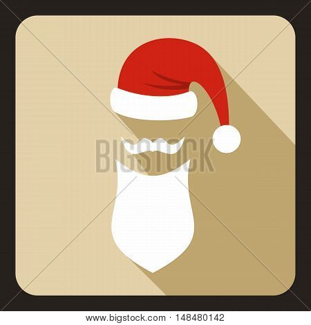 Hat with pompom and long beard of Santa Claus icon in flat style with long shadow. New year symbol vector illustration