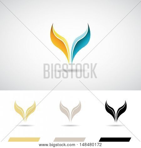 Yellow and Blue Fish Tail Icon Illustration