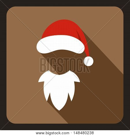 Hat with pompom and white beard of Santa Claus icon in flat style with long shadow. New year symbol vector illustration