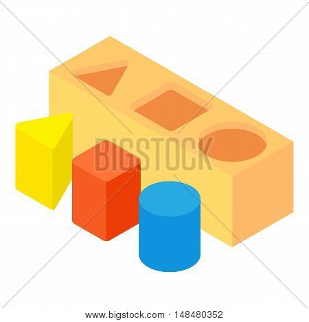 Different toy blocks icon in cartoon style isolated on white background vector illustration