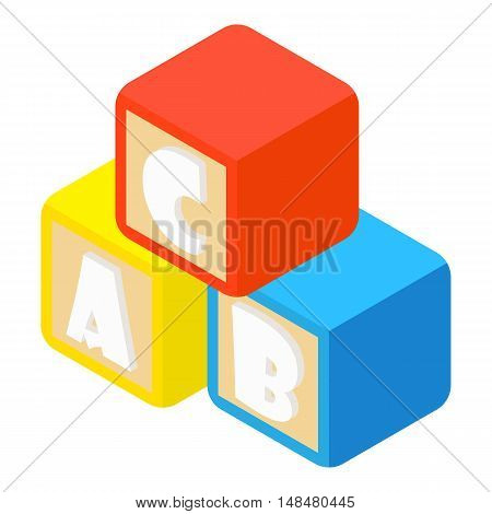 Alphabet cubes with letters A, B, C icon in cartoon style isolated on white background vector illustration
