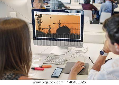 Under Construction Building Architecture Concept