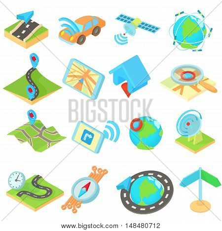 Navigation icons set in isometric 3d style style. Location on terrain set collection vector illustration.