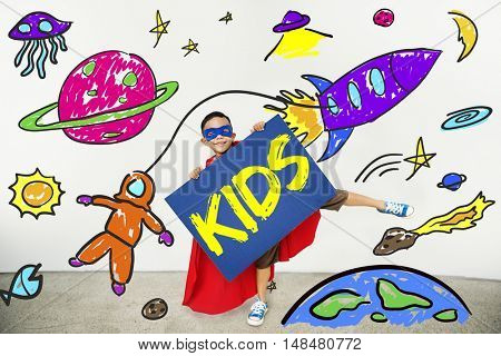 Kids Space Rocket Planet Graphic Concept