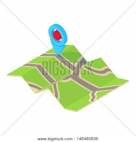 GPS sign on map icon in cartoon style isolated on white background. Point symbol vector illustration