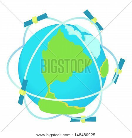 Satellite communications around world icon in cartoon style isolated on white background. Technology symbol vector illustration