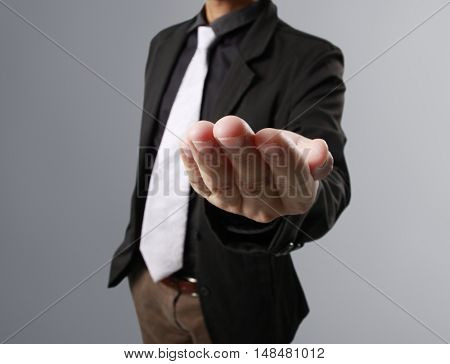 Business man empty open a hands