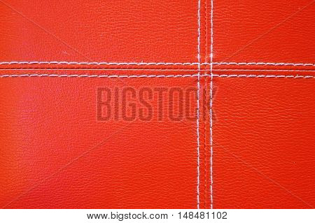 Blank of Stitched red leather background .