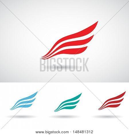 Colorful Wing Shape Icon Illustration