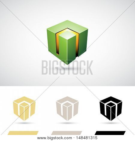 Green Shiny 3d Cube Icon Illustration