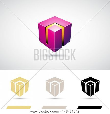Purple Shiny 3d Cube Icon Illustration