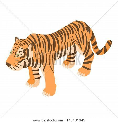 Tiger icon in cartoon style isolated on white background. Animals symbol vector illustration