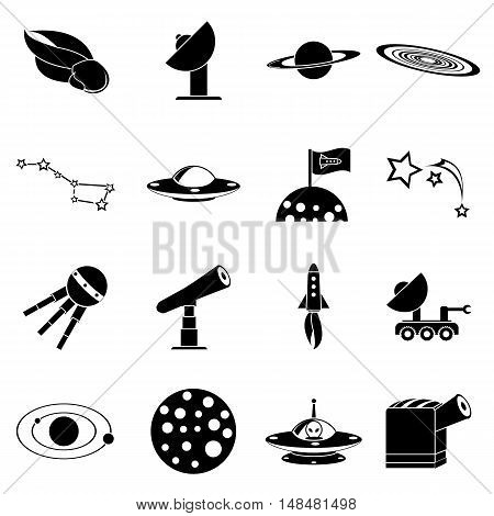 Space icons set in simple style. Space and astronomy elements set collection vector illustration