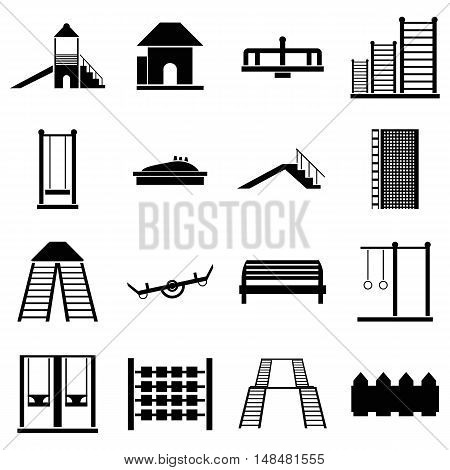 Children playground icons set in simple style. Kids playground elements set collection vector illustration