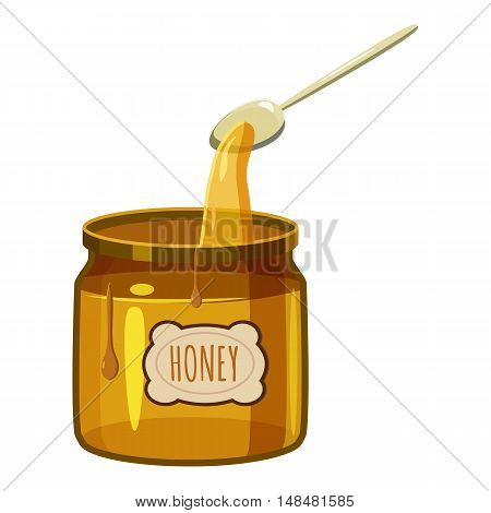 Jar of honey with spoon icon in cartoon style isolated on white background. Food symbol vector illustration