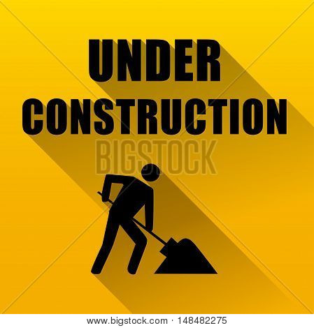 Illustration of under construction website background yellow and black