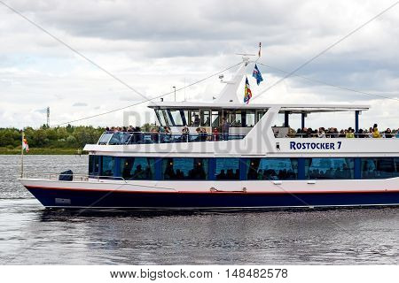Rostock, Germany - August 22, 2016 Excursion boat Rostocker 7 Rostock Warnow